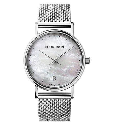 GEORG JENSEN Koppel mother-of-pearl and stainless steel watch 32mm