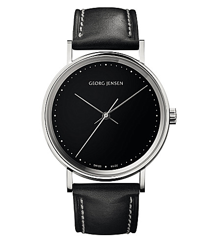 GEORG JENSEN Koppel stainless steel and leather watch 38mm