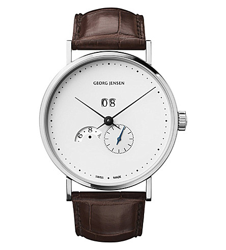 GEORG JENSEN Koppel stainless steel and alligator-skin automatic watch