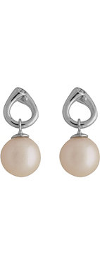 GEORG JENSEN Magic rose pearl and brilliant cut diamond 18-carat white gold earrings