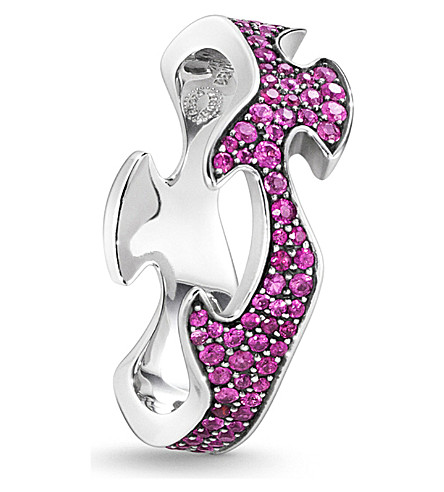 GEORG JENSEN Fusion 18ct white-gold and pink sapphire ring