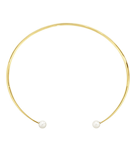 GEORG JENSEN Neva 18ct yellow-gold, diamond and pearl neck ring