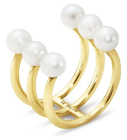 GEORG JENSEN Neva 18ct yellow-gold triple pearl ring