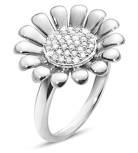 GEORG JENSEN Sunflower sterling silver and diamond ring
