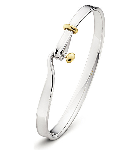 GEORG JENSEN Torun sterling silver and 18kt yellow gold bangle