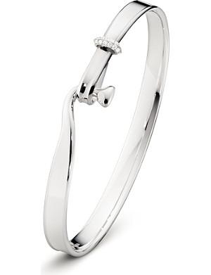GEORG JENSEN Torun sterling silver 18 kt white gold and diamond bangle