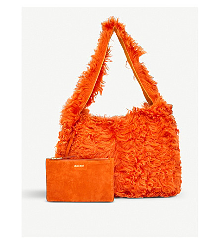 MIU MIU Shearling shoulder bag (Arancio