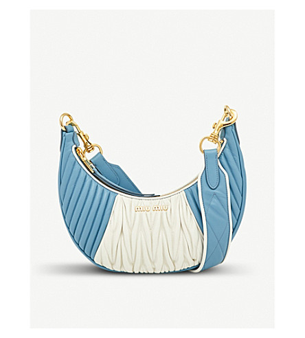 MIU MIU Two-tone leather cross-body bag (Astrale+bianco
