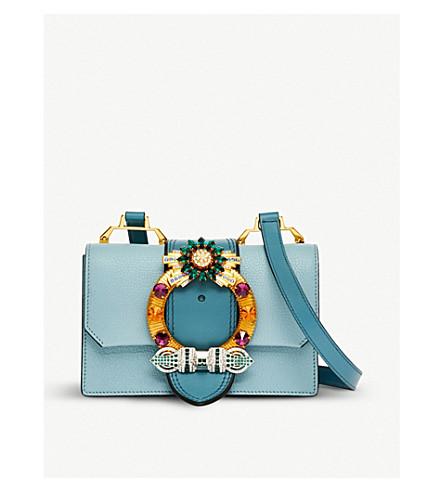 MIU MIU Crystal-embellished grained-leather shoulder bag (Lago