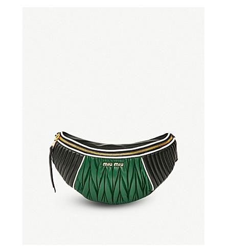MIU MIU Two-tone quilted nappa-leather belt bag (Nero+biliardo