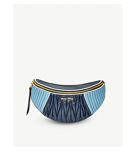 MIU MIU Two-tone quilted nappa-leather belt bag (Oltremare astrale