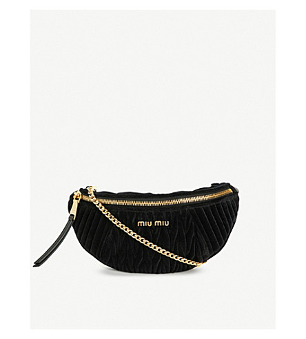 MIU MIU Rider matelassé velvet and leather belt bag (Nero