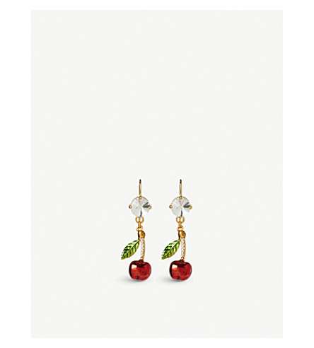 MIU MIU Fruit Crystal gold-plated drop earrings (Ciliegia