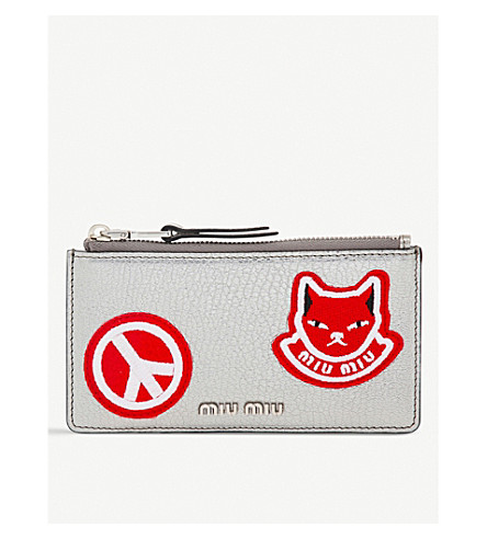 MIU MIU Cat and peace patch grained-leather pouch (Cromo