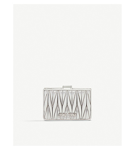 MIU MIU Quilted nappa-leather card holder (Cromo