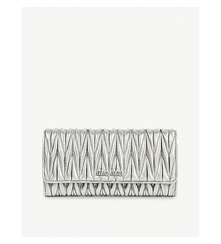 MIU MIU Grained-leather wallet (Cromo