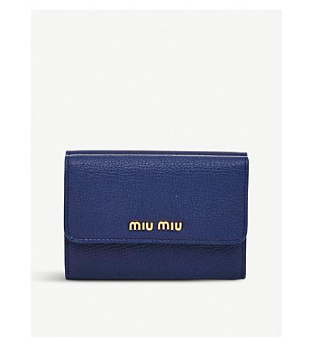 MIU MIU Grained-leather wallet (Inchiostro/marea