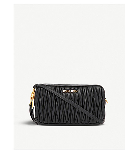MIU MIU Quilted nappa-leather cosmetics pouch (Nero