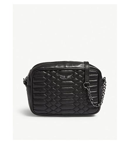 ZADIG & VOLTAIRE 方形绗缝皮革斜挎包 (黑色