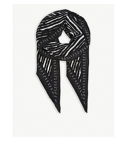 ZADIG & VOLTAIRE Skeleton print silk scarf (Black