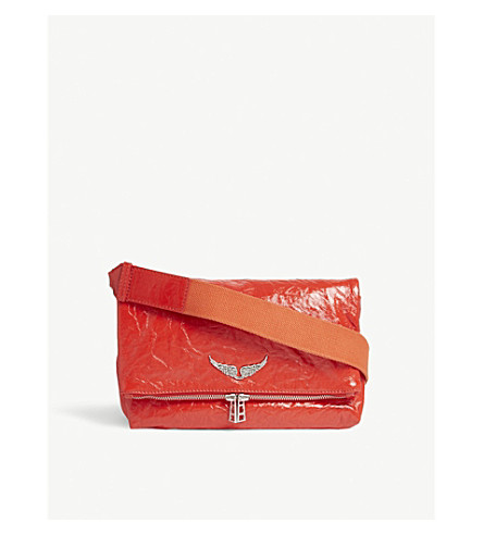 ZADIG & VOLTAIRE Rocky creased patent leather shoulder bag (Red