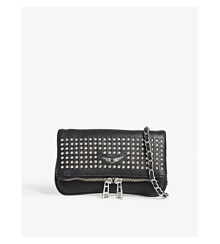 ZADIG & VOLTAIRE Rock nano spike leather cross-body bag (Black