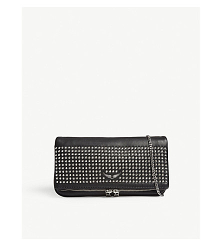 ZADIG & VOLTAIRE Rock spike leather clutch bag (Black