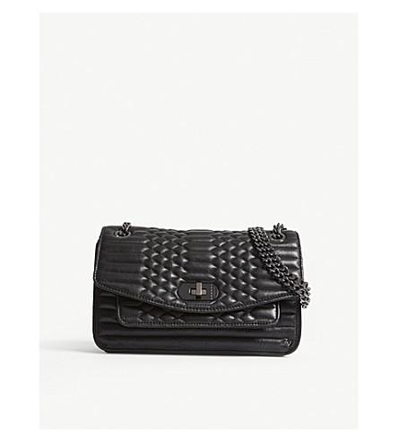 SAINT LOUIS CRYSTAL Skinny love mat leather shoulder bag (Noir