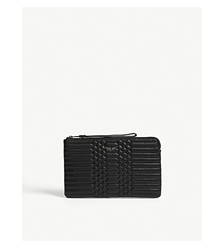 ZADIG & VOLTAIRE Uma quilted leather clutch bag (Black
