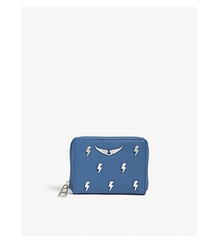 ZADIG & VOLTAIRE Flash lightning bolt leather wallet (Blue