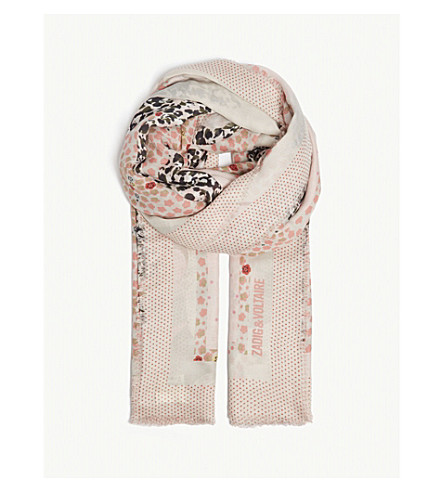 ZADIG & VOLTAIRE Maxi patchwork scarf (Pale+pink