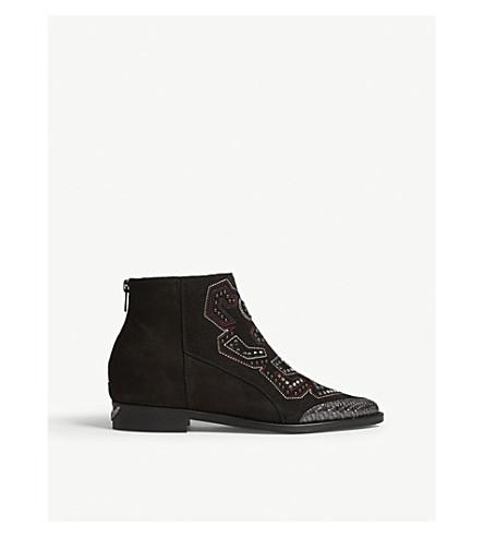 ZADIG & VOLTAIRE Suede embellished ankle boots (Noir