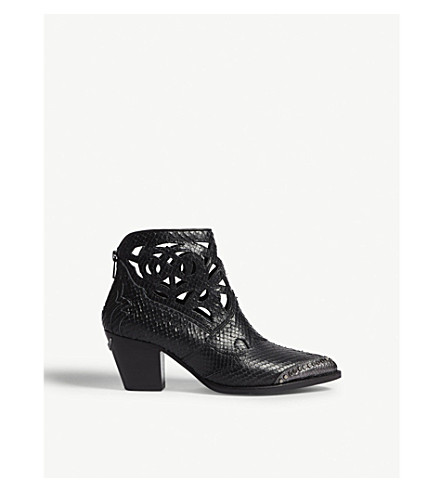 ZADIG & VOLTAIRE Cara snake-embossed leather cowboy boots (Black
