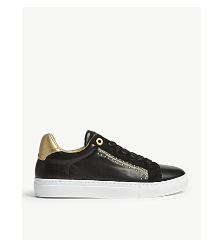 ZADIG & VOLTAIRE Zv1747 studded leather trainers (Noir+gold