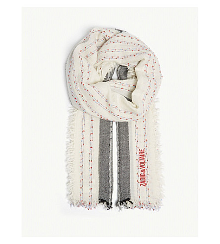 ZADIG & VOLTAIRE Tanael Bead wool scarf (White