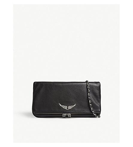 ZADIG & VOLTAIRE Rock leather clutch bag (Black