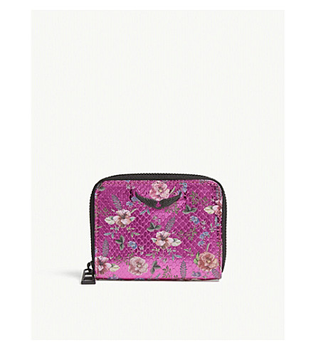 ZADIG & VOLTAIRE Floral-print mini textured leather purse (Multicolor