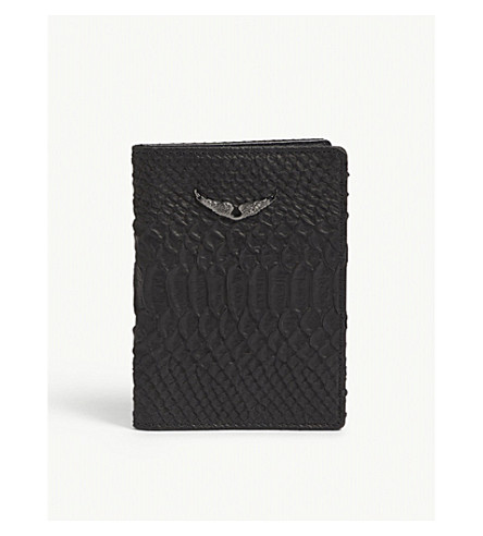 ZADIG & VOLTAIRE Savage leather passport holder (Black