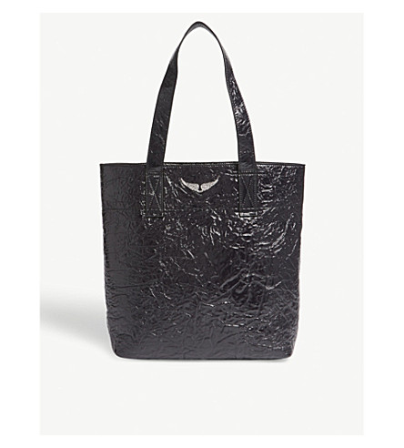 ZADIG & VOLTAIRE Shadow creased patent leather tote (Black