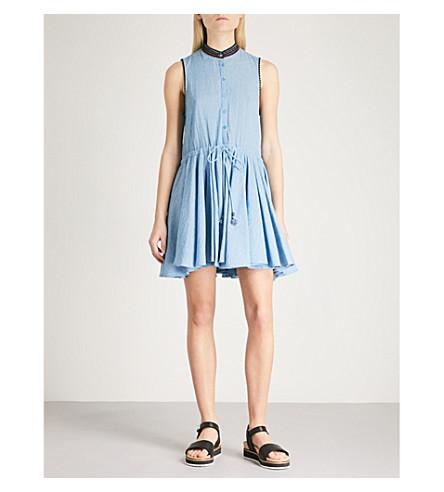 ZADIG & VOLTAIRE Ranie embroidered cotton-chambray mini dress (Blue