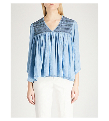 ZADIG & VOLTAIRE Taffy smocked cotton-chambray tunic (Blue