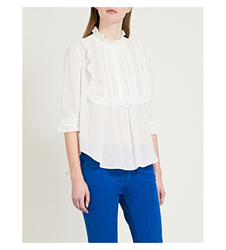 ZADIG & VOLTAIRE Tix frilled-detail cotton-blend blouse (White