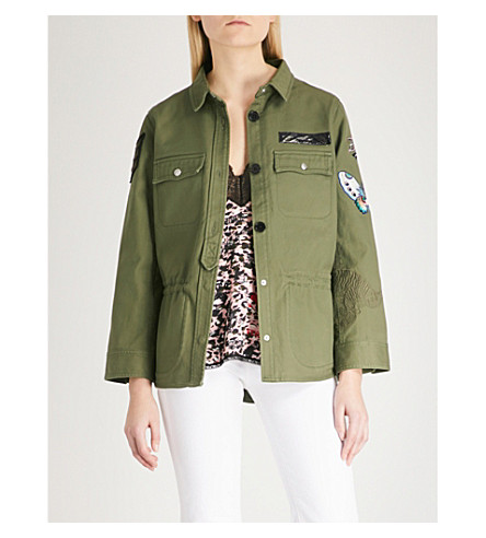 ZADIG & VOLTAIRE Tackl Brodé embroidered cotton-twill shirt (Green