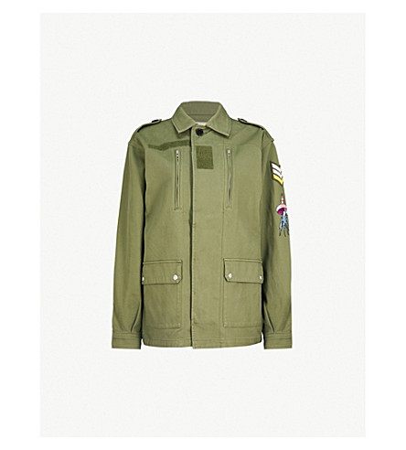 ZADIG & VOLTAIRE Kid Brodé embroidered cotton-twill jacket (Green
