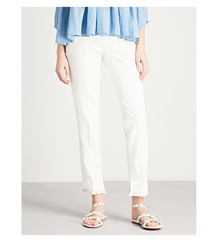 ZADIG & VOLTAIRE Prune frayed-hem cotton-blend trousers (White