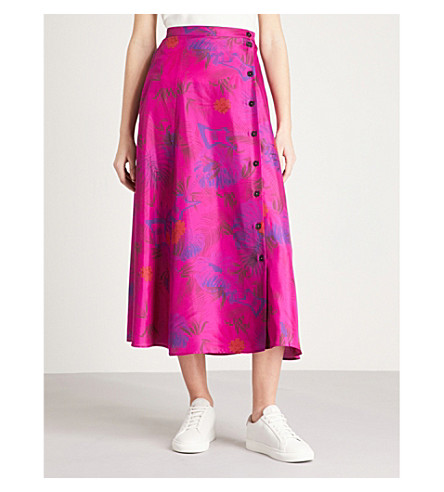 ZADIG & VOLTAIRE June jungle-print silk-crepe de chine skirt (Pink