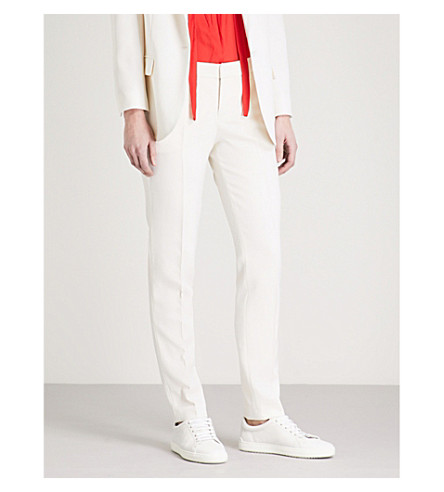 ZADIG & VOLTAIRE Prune grosgrain-trim tapered wool trousers (White