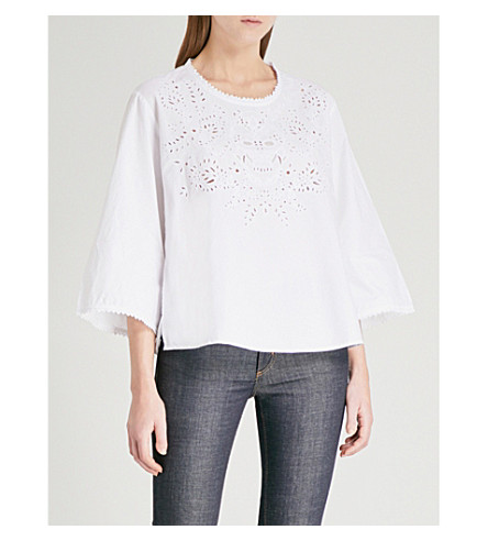 ZADIG & VOLTAIRE Tal broderie-anglaise cotton-poplin blouse (White