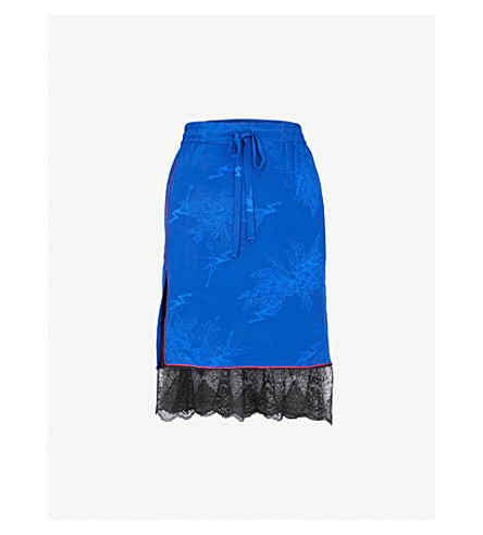 ZADIG & VOLTAIRE Jillian silk-crepe de chine skirt (Blue