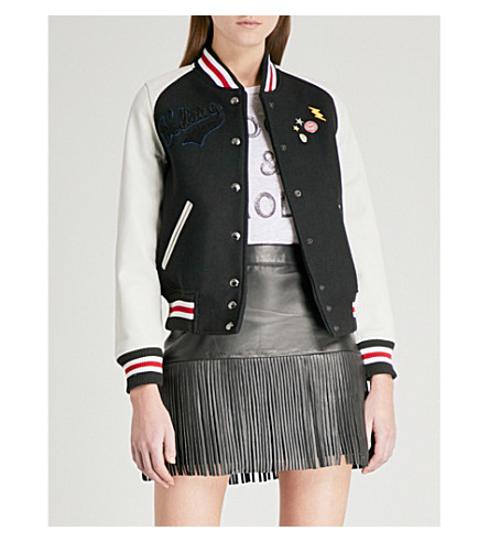 ZADIG & VOLTAIRE Birdie wool-blend and leather bomber jacket (Black